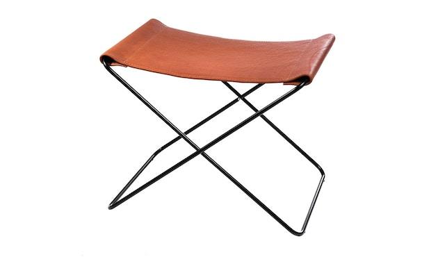 Manufakturplus - Fußteil für Hardoy Butterfly Chair - Stahlrahmen weiß, Biobüffel-Leder schwarzbraun - 2