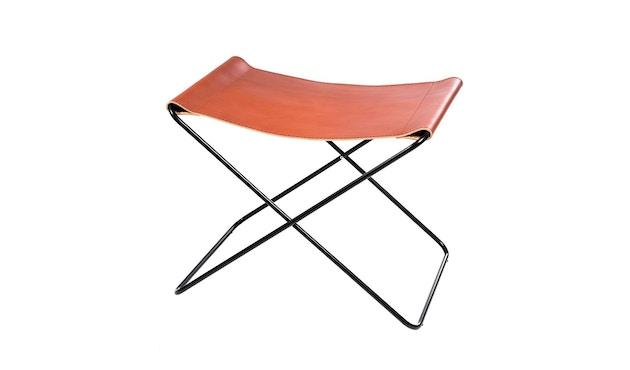 Manufakturplus - Fußteil für Hardoy Butterfly Chair - Stahlrahmen weiß, Neckleder blau - 2