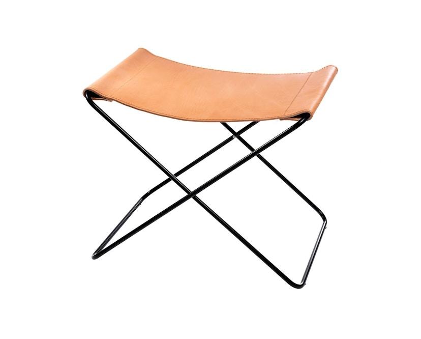 Manufakturplus - Fußteil für Hardoy Butterfly Chair - Stahlrahmen schwarz, Sattel-Leder braun - 2