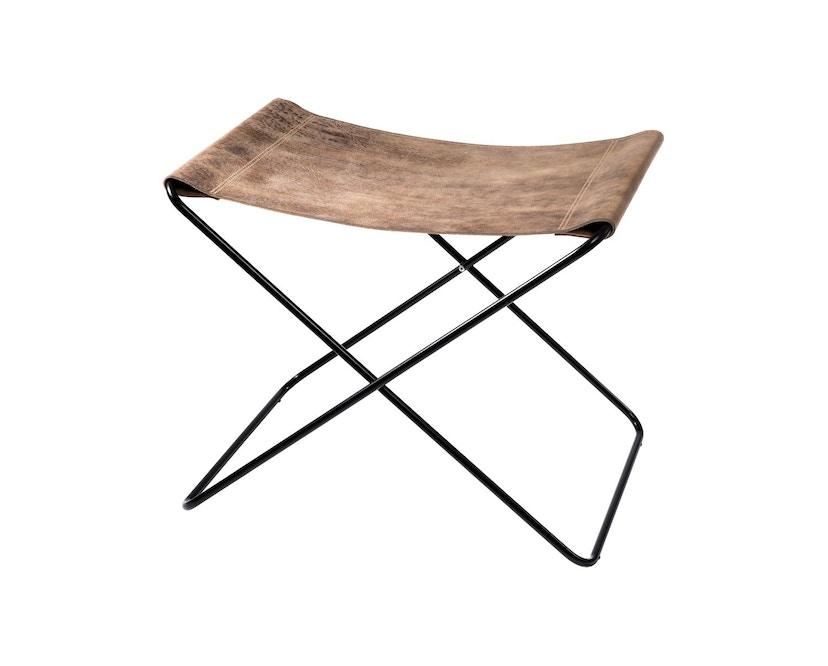 Manufakturplus - Fußteil für Hardoy Butterfly Chair - Stahlrahmen schwarz, Vintage-Leder - 1