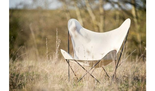 Manufakturplus - Fußteil für Hardoy Butterfly Chair - Stahlrahmen schwarz, Pure Cotton - 5