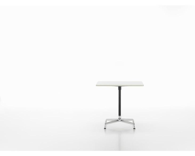 Vitra - Eames Contract Table quadratisch 75x75cm, Melamin weiß, Ausleger poliert, Standrohr pulverbeschichtet basic dark - Melamin weiß - 1