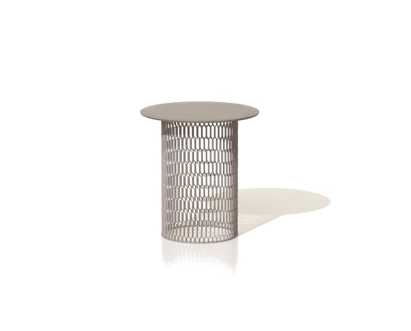 Kettal - Mesh Beistelltisch Ø 48 cm - kamillenweiß - Aluminium Tischplatte - 1