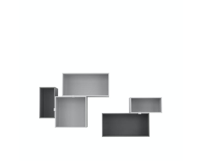Muuto - Mini Stacked 2.0 - Element mittel - hellgrau mit Rückwand - 2