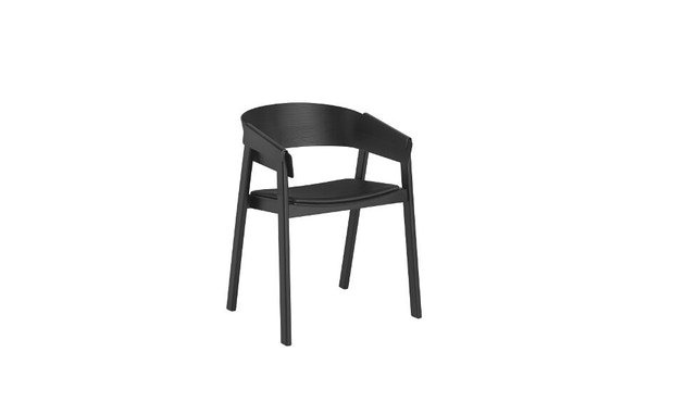 Muuto - Cover Stuhl mit Lederpolster -Leder schwarz - 1