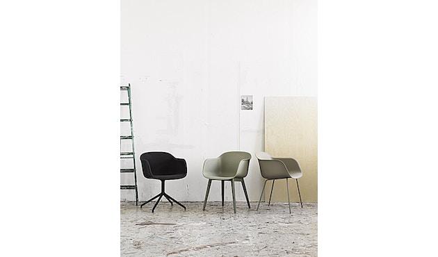 Muuto - Fiber Armlehnstuhl - Drehfuß - grau/grau - 4