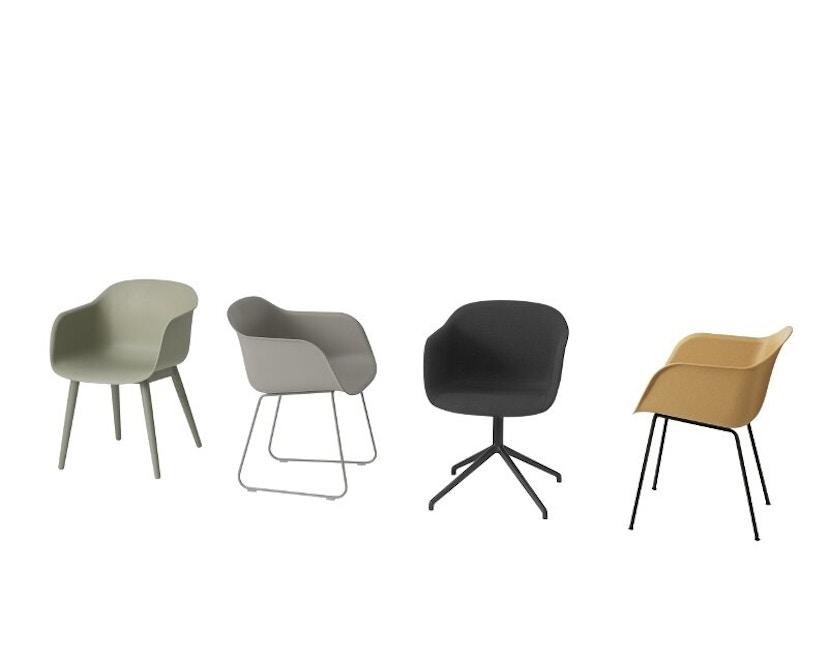 Muuto - Chaise Fiber - Piètement en bois - Blanc - Structure Chêne - 5