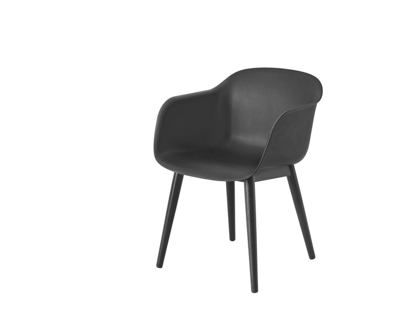 Muuto - Fiber Armlehnstuhl - Holzgestell - schwarz/Gestell schwarz - 3