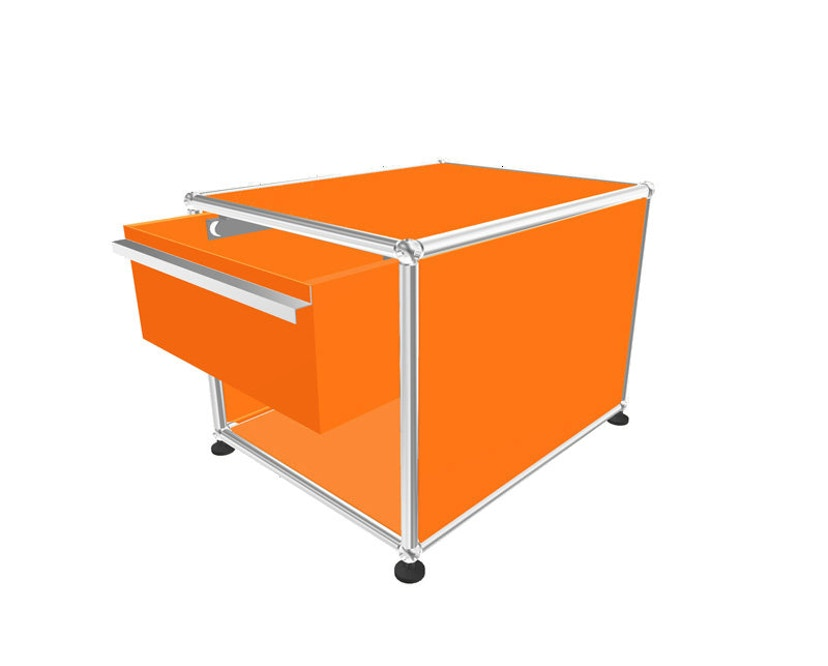 USM Haller - Table de chevet avec tiroir - 26 orange pur - 1