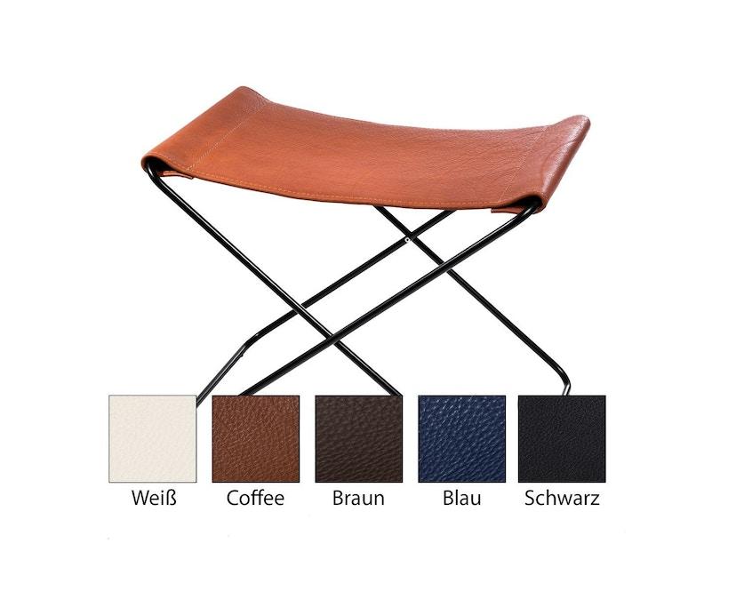 Manufakturplus - Fußteil für Hardoy Butterfly Chair - Stahlrahmen weiß, Neckleder blau - 1