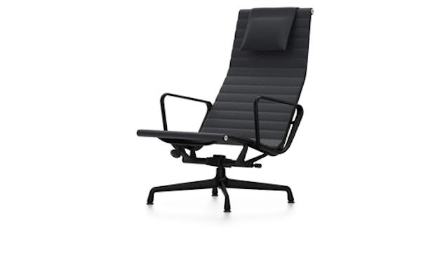 Vitra - Aluminium Sessel - EA 124, Gestell beschichtet tiefschwarz, Filzgleiter Hartboden - Vitra - Leder 66 nero - 2