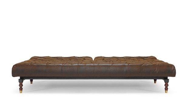 Innovation - Oldschool Schlafsofa - Dess. 461 Kunstleder braun - gedrechselte Beine, Ulme dunkel - 3