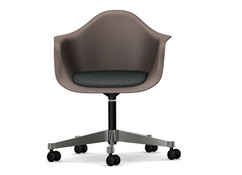 Vitra - Eames Plastic Armchair PACC mit Sitzpolster - Schale mauve - Bezug Hopsak dunkelgrau - Rollen Hartboden - Ausstellungsstück
