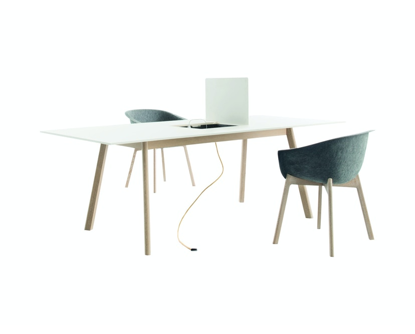 PAD Tisch mit Ausschnitt - CCL  weiß - Eiche weiß
