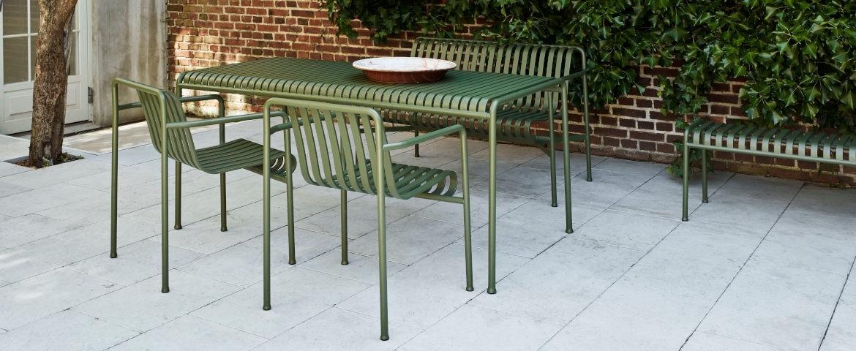 Hay Palissade Tisch/Bank/2x Stuhl