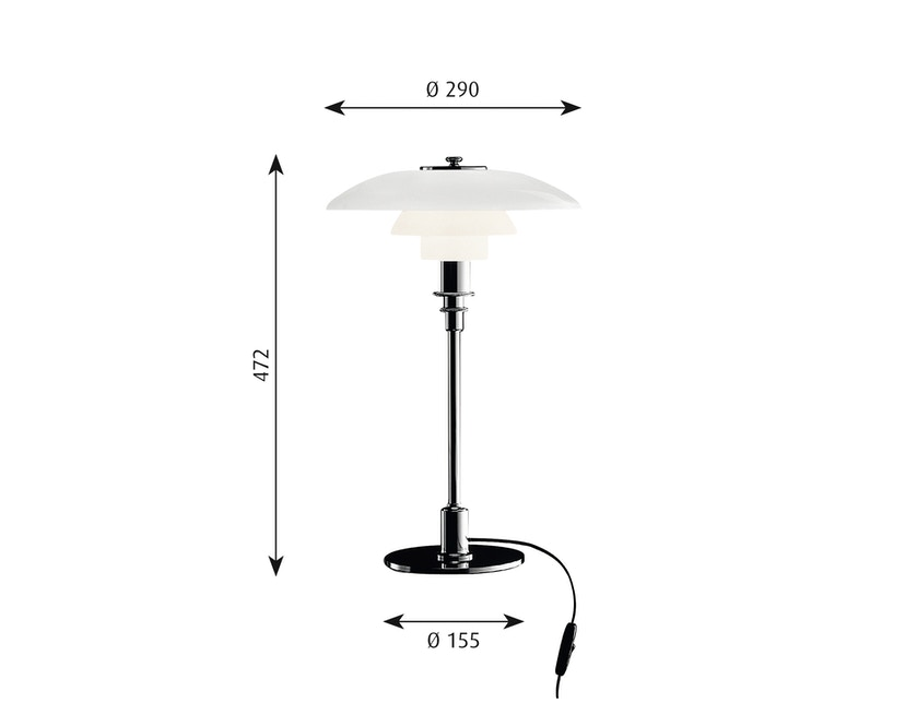 Louis Poulsen - PH 3/2 tafellamp - hoogglansverchroomd - 2