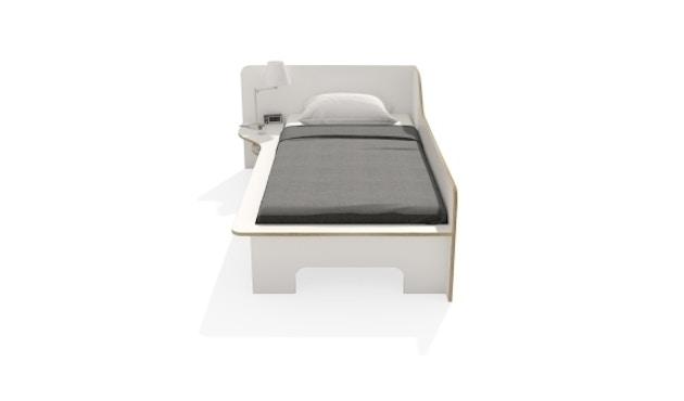 Müller Möbelwerkstätten - Plane Einzelbett - CPL weiß - links - ohne Bettkasten - 5