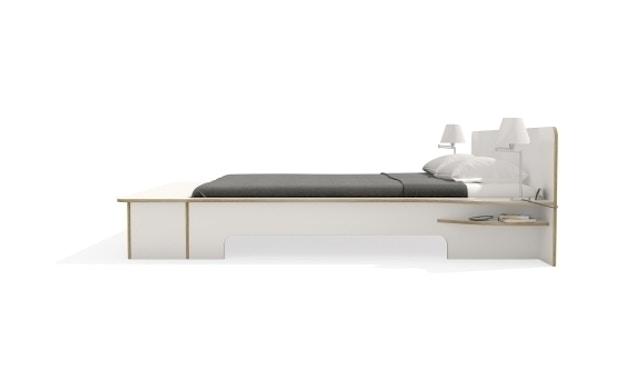 Müller Möbelwerkstätten - Plane Doppelbett - CPL weiß - 180 x 200 - mit Bettkasten - 6