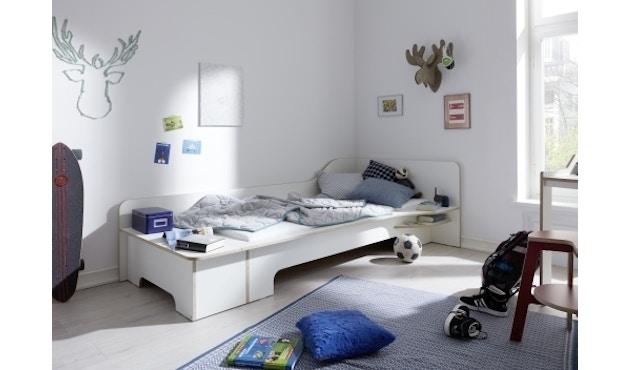 Müller Möbelwerkstätten - Plane Einzelbett - CPL weiß - rechts - mit Bettkasten - 8