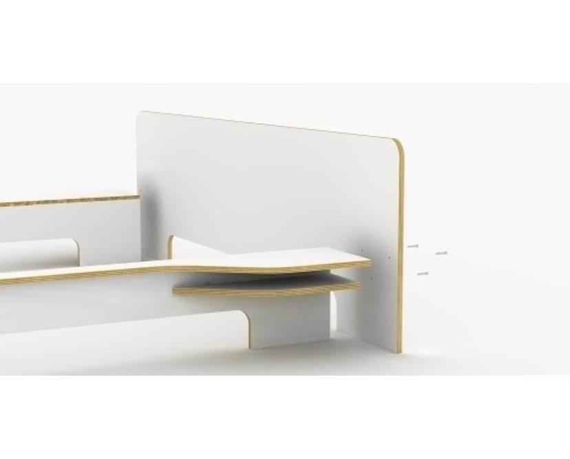 Müller Möbelwerkstätten - Plane Doppelbett - CPL weiß - 140 x 200 - ohne Bettkasten - 6