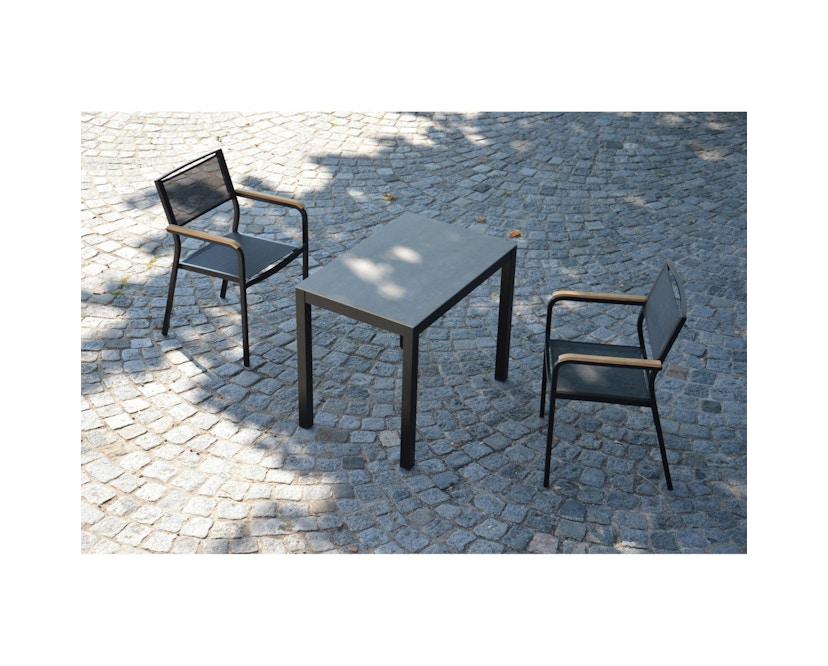 Jan Kurtz - Quadrat Tisch - Keramik - Gestell weiß - 80 x 50 - anthrazit - 4