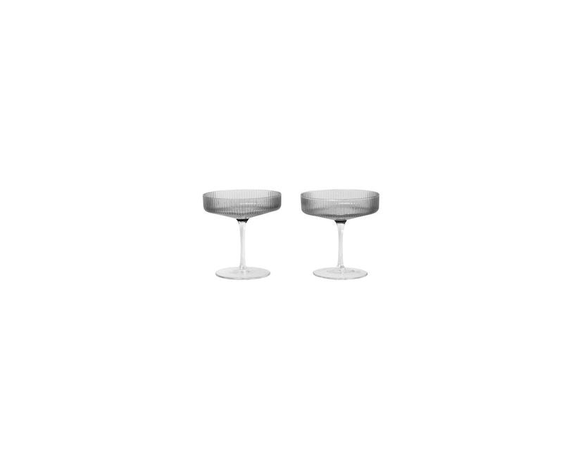 ferm LIVING - Ripple Champagnerschalen - rauchgrau - 5