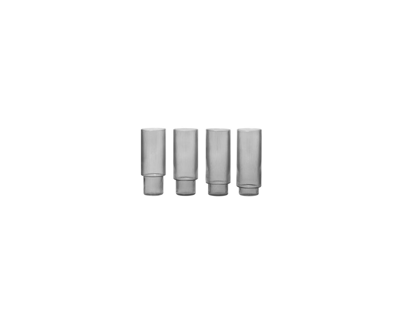 ferm LIVING - Ripple Long Drink glazen (set van 4) - grijs gerookt - 5