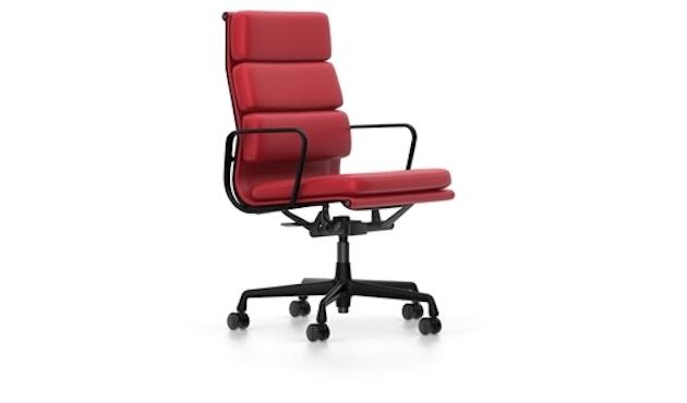 Vitra - EA 219 Soft Pad Chair, Gestell beschichtet tiefschwarz, Rollen weich für Hartböden - Vitra Leder 70 rot - 0