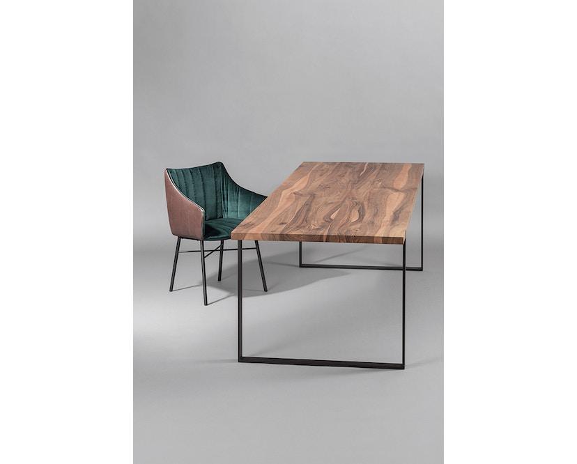 Janua - Table S 700 - Stefan Knopp - 180 cm - Chêne noirci au charbon/blanchi à la chaux - 90 cm - gris ardoise - 7