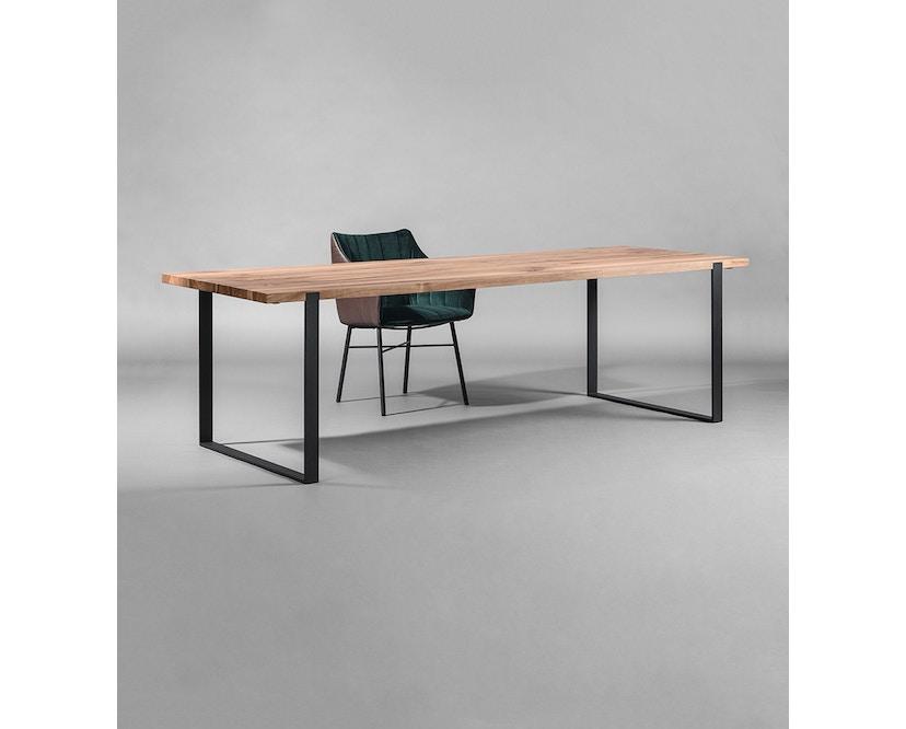 Janua - Table S 700 - Stefan Knopp - 180 cm - Chêne noirci au charbon/blanchi à la chaux - 90 cm - gris ardoise - 8