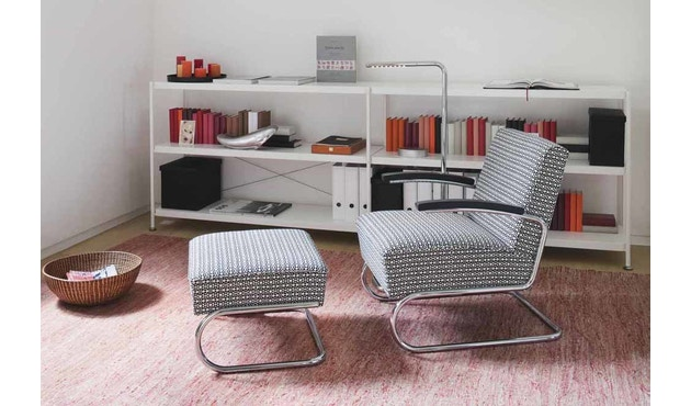 Thonet - S 411 H Maharam Double Triangles  - schwarz/weiß - 3