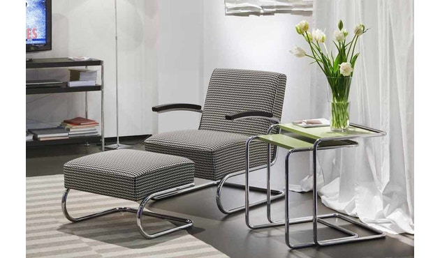 Thonet - S 411 H Maharam Double Triangles  - schwarz/weiß - 4