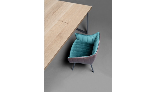 Janua - Table S 700 - Chêne nature huilé - 180 cm - 90 cm - noir époxy - 6