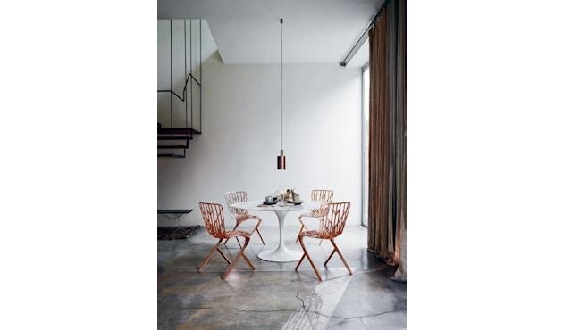 Knoll International - Saarinen Esstisch - rund 91 Ø - Laminat weiß - Säulenfuß schwarz - 3