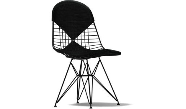 Vitra - Wire Chair DKR- 2 - schwarz - 05 dunkelgrau Hopsak - Sitzhöhe 43 cm - 1