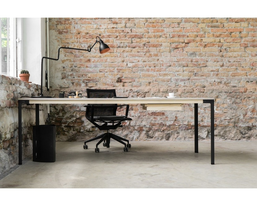 Moormann - Seiltänzer Tisch - Laminat weiß rotes Seil - 90 x 90 - 9