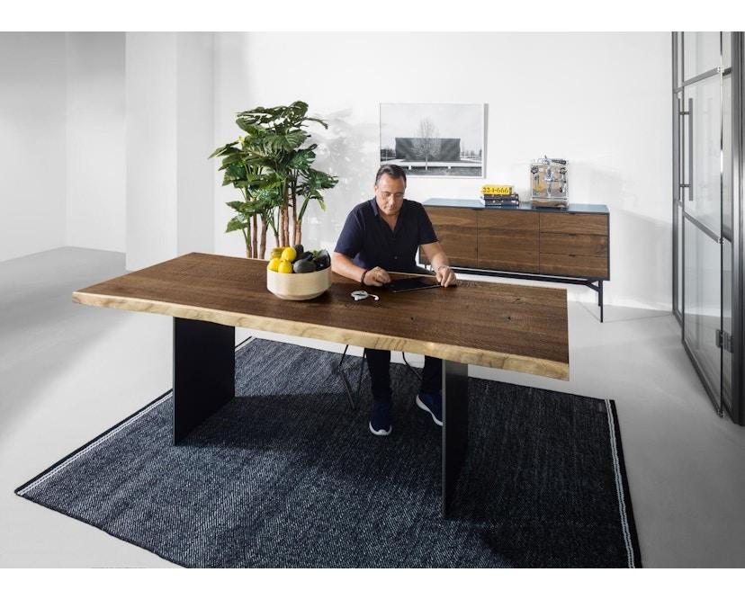 Janua - SK 04 Komposit Tisch - Eiche geköhlt/ gekalkt (Ton grau) - 180x90 - Gestell Rohstahl natur - 7