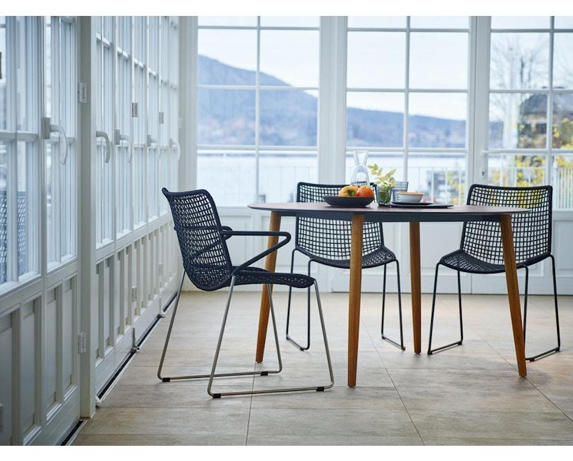 Weishäupl - Slope Tisch - quadratisch - Holzbeine - HPL weiß - 2
