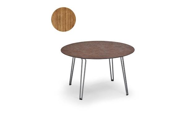 Weishäupl - Slope Tisch - rund - Metallbeine schwarz - Teak massiv unbehandelt - 1