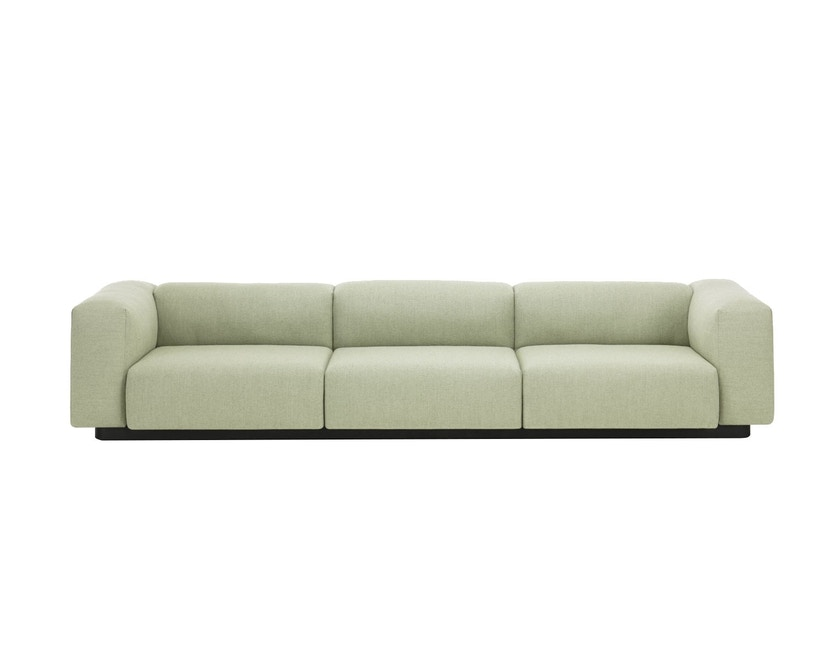 Vitra - Soft Modular 3-Sitzer Sofa - Armlehne hoch - Dumet 15 salbei/kiesel - 1