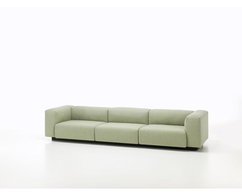 Vitra - Soft Modular 3-Sitzer Sofa - Armlehne hoch - Dumet 15 salbei/kiesel - 3