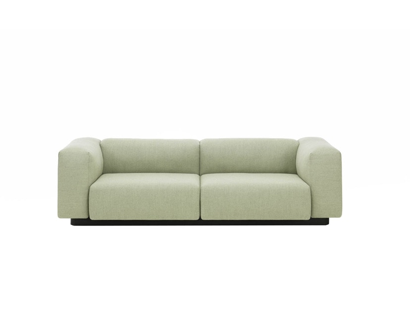 Vitra - Soft Modular 2-Sitzer Sofa - Armlehne hoch - Dumet 15 salbei/kiesel - 6