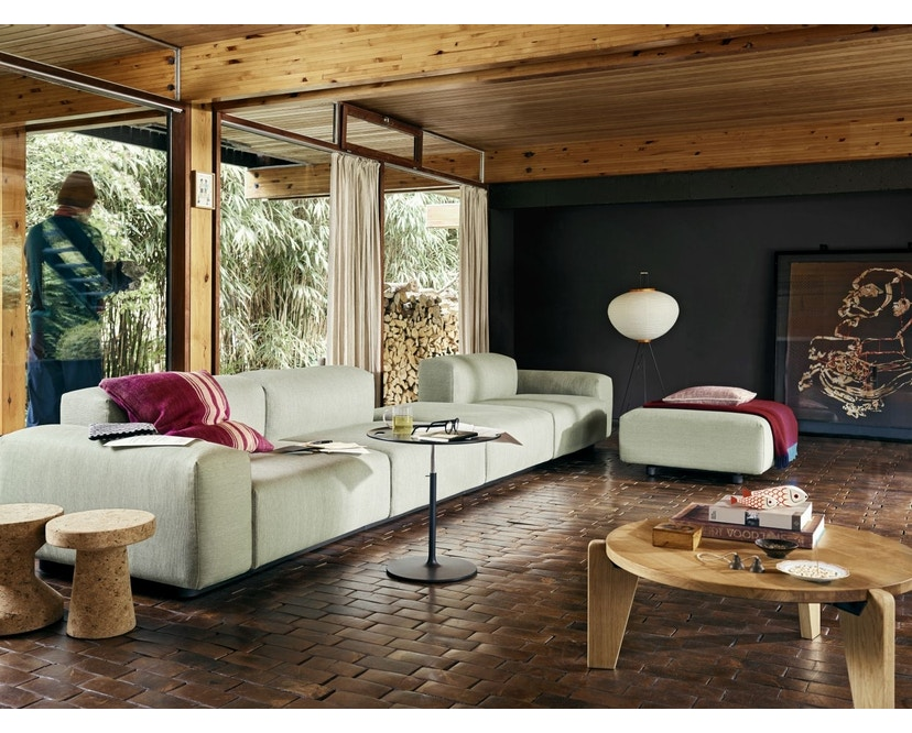 Vitra - Soft Modular 3-Sitzer Sofa - Armlehne hoch - Dumet 15 salbei/kiesel - 7