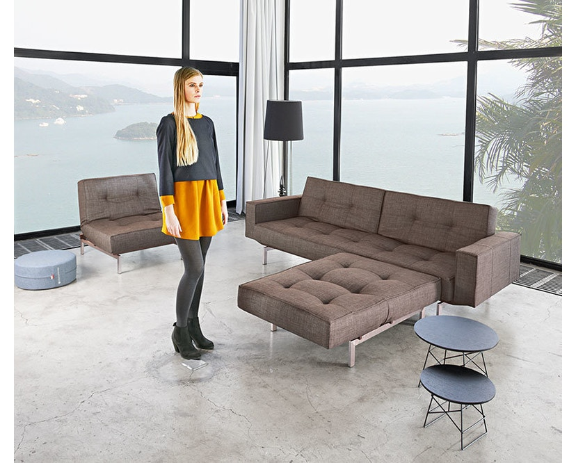 Innovation - Splitback Schlafsofa - Dess. 521 - grau - Beine Chrom - Gestell matt schwarz - 17