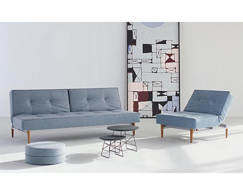 Innovation - Canapé-lit avec accoudoirs Splitback - gris foncé - flashtex - chrome - 3