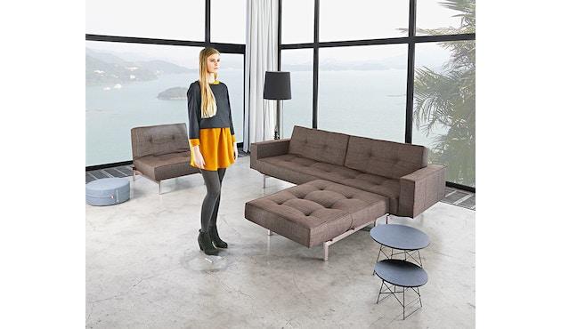 Innovation - Splitback Schlafsofa mit Armlehne - Dess. 216 - dunkelgrau - Beine Chrom - Gestell matt schwarz - 12