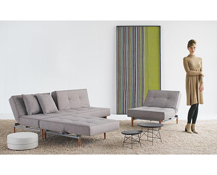 Innovation - Canapé-lit avec accoudoirs Splitback - gris foncé - flashtex - chrome - 5