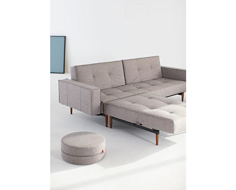 Innovation - Canapé-lit avec accoudoirs Splitback - gris foncé - flashtex - chrome - 6