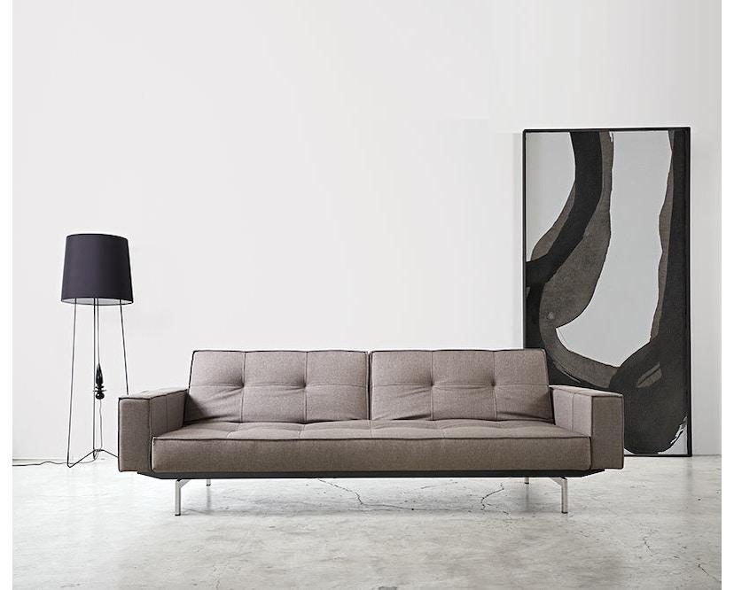 Innovation - Canapé-lit avec accoudoirs Splitback - gris foncé - flashtex - chrome - 10