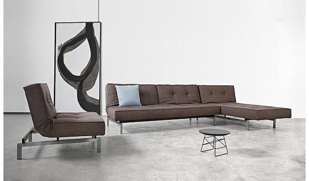 Innovation - Canapé-lit avec accoudoirs Splitback - gris foncé - flashtex - chrome - 11